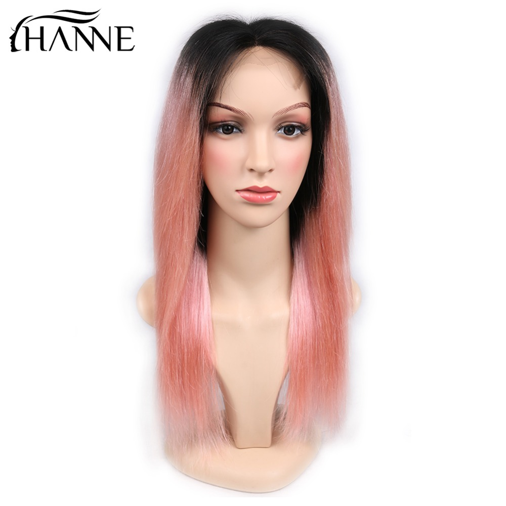 HANNE Hair 4*4 Lace Closure Pink Wigs For Women Middle Part Human Hair Wigs 1B/Pink Color 150% Density Brazilian Remy Wig