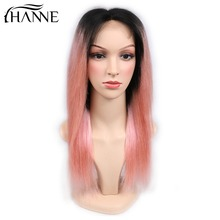 HANNE Hair 4*4 Lace Closure Pink Wigs For Women Middle Part Human Hair Wigs 1B/Pink Color 150% Density Brazilian Remy Wig natural wave lace front human hair wigs middle part short remy wig for black women perruque cheveux humain 1b 99j hanne hair