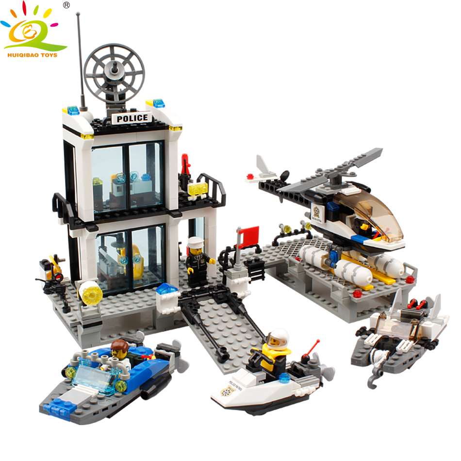 HUIQIBAO TOYS 536pcs Police Station Patrol boat Helicopter Building Blocks For Children Compatible Legoed City policeman Figures city super police cruiser plane coast guard airplane 3in1 building block thief policeman swat figures compatible withlego toys