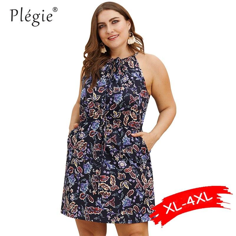 Женское мини-платье с цветочным принтом Plegie, летнее платье без рукавов с карманами и завязками на талии, большие размеры, 2019