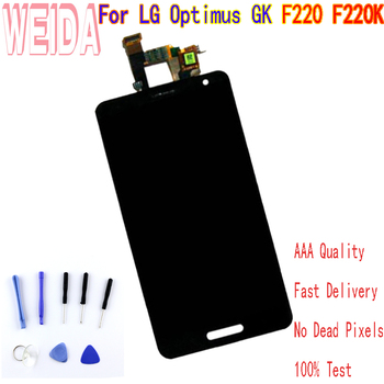 4.7 Inch For LG Optimus GK F220 F220K lcd Display Touch Screen DigitizerAssembly WITHOUT Frame free tool 100% good working new replacement lcd display screen for lg optimus g pro e980 e985 f240 free shipping