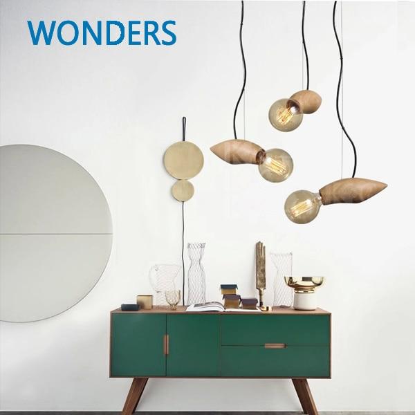 Luces colgantes de madera Edison vintage con estilo moderno E27 - Iluminación interior