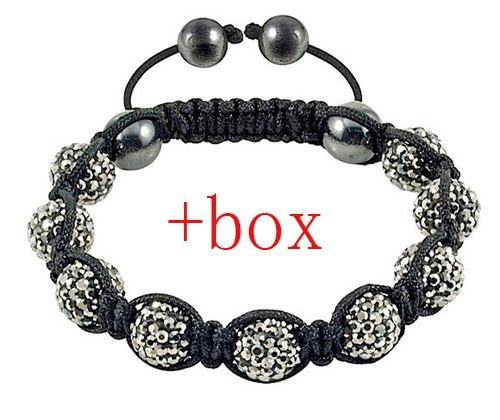 Fashion jewelry Hot sale Handmade Shamballa ball face glitter crystal beads bracelet 1pcs Christmas gift
