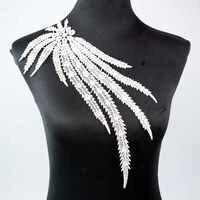 1 Piece White Peacock Long Tail Venise Lace Collar Applique Trim Sewing Craft Lace Neckline Dress Shirt Decor BW062