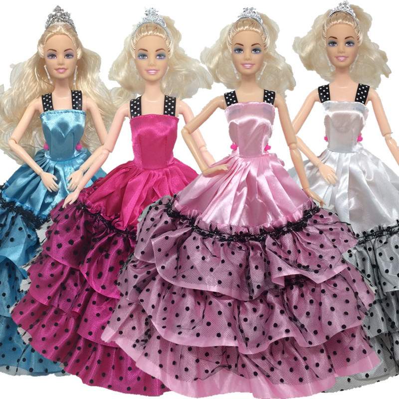 NK 4Set/ Lot Handmade Princess Wedding Dress Noble Party Gown For Barbie Doll Fashion Design Outfit Best Gift For Girl Doll