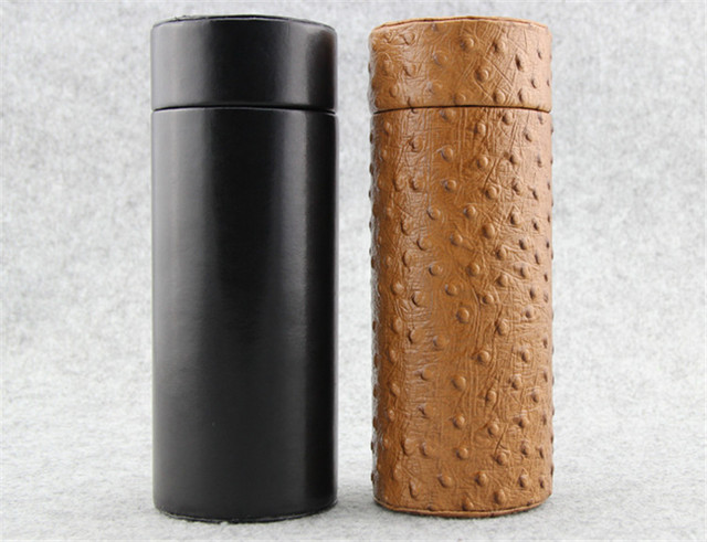 COHIBA Gadgets Brown Leather Cedar Wood Lined Cigar Tube Portable Jar with Humidifier Hygrometer