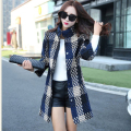 New Winter Women Coat Plus Size Long Sleeve European Style Jacket Coat Plaid Pattern Silm Outerwear High Quality TY1610181