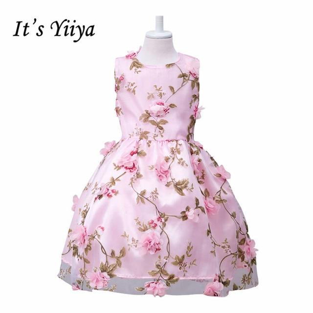 Its yiiya pink orange sleeveless o neck bow flower pattern its yiiya pink orange sleeveless o neck bow flower pattern appliques kids princess flower girls mightylinksfo