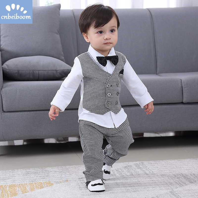 Image 2 - 2019 New Kids Boy Clothes Baby Gentleman Suit Clothing Sets Fake two piece vest shirt Toddler children 1 4Y Birthday Party Dress-in Clothing Sets from Mother & Kids