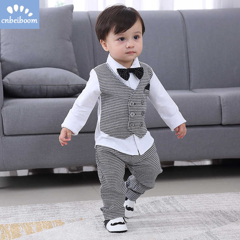 c5dc79894fb8a ... 2019 New Kids Boy Clothes Baby Gentleman Suit Clothing Sets Fake two  piece vest shirt Toddler ...