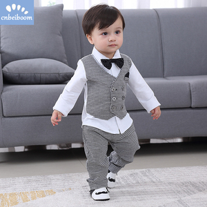 Image 2 - 2020 New Kids Boy Clothes Baby Gentleman Suit Clothing Sets Fake two piece vest shirt Toddler children 1 4Y Birthday Party Dress