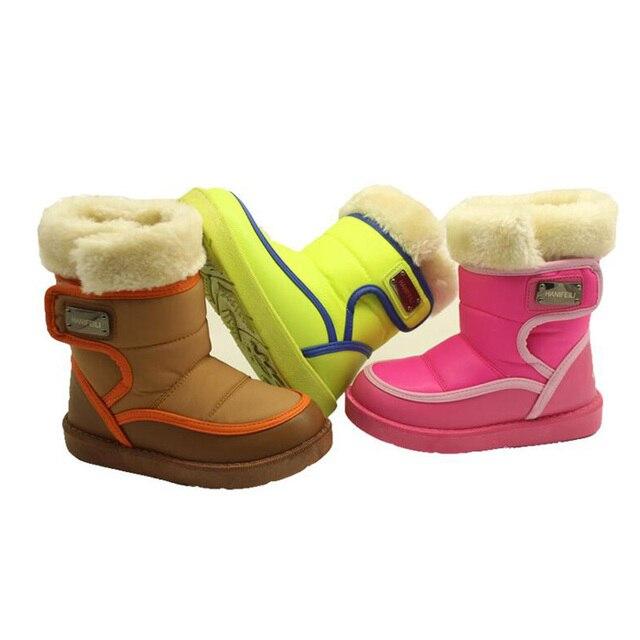 Новые детские зима снег сапоги мода толстые плюшевые теплые сапоги противоскользящая обувь для 3-9 года старых детей