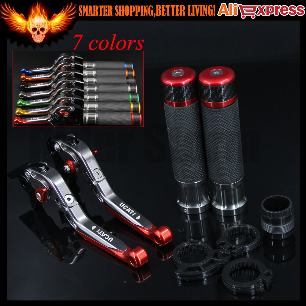 ФОТО 7 Colors Red+Titanium CNC Adjustable Folding Motorcycle Brake Clutch Levers&Handlebar Hand Grips For Ducati MONSTER M620 2002