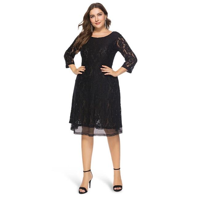 8ae2921ece872 PlusMiss Plus Size 5XL XXXXL XXXL Sexy Black Lace Crochet Party Dresses  Women Vintage Retro Loose Midi Dress Big Size Autumn