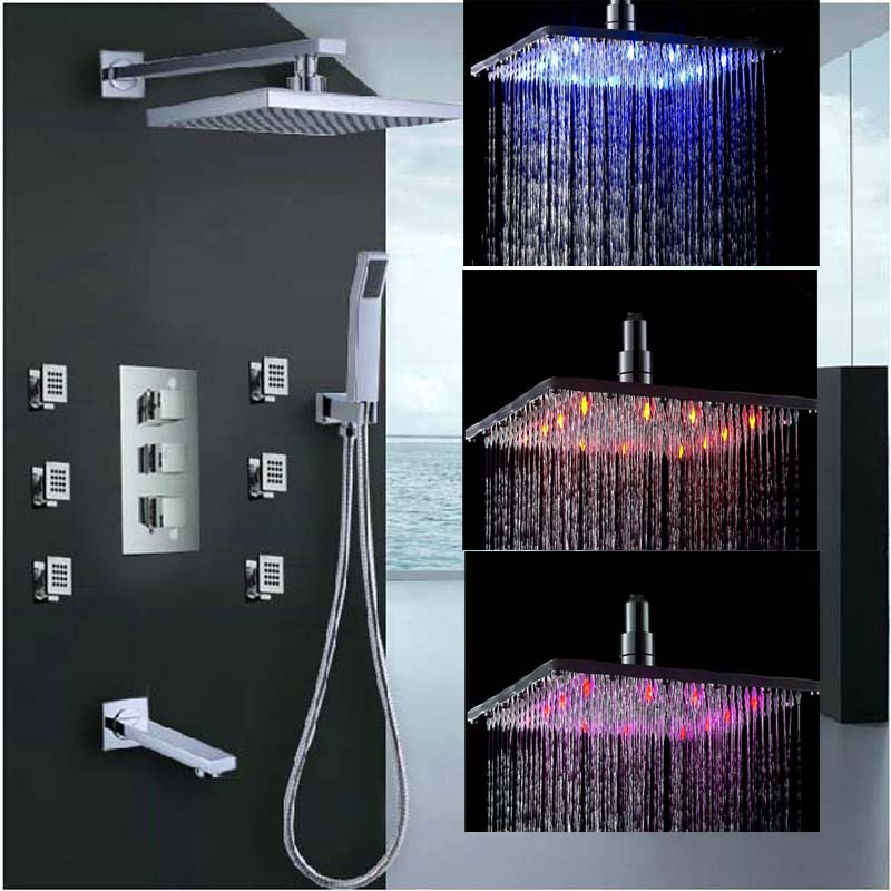 Wholesale And Retail Thermostatic 4 Ways Valve Mixer Tap LED Color Changing Rain Shower Faucet Set Massage Jets Tub Spout Unit wholesale and retail wall mounted thermostatic valve mixer tap shower faucet 8 sprayer hand shower