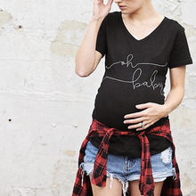 Summer Pregnant Maternity T Shirts Short Sleeve Casual Pregnancy Clothes Funny Letter Print For Pregnant Women Clothing Tee Tops(China)