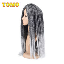 "TOMO 22Strands Box Braids Crochet Braids 14"" 18"" 22"" Synthetic Hair Extension Braiding Hair Black Red Blond Color Available(China)"