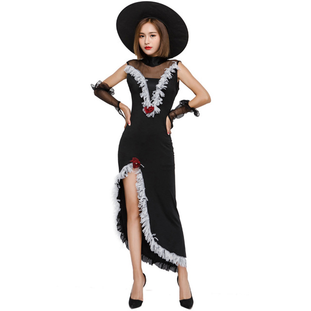 b56d4e273d20d New Sexy Black Witch Masquerade Costumes Stage Performance Game Play Night  Club Dancer Disfraces Exotic Clothes 6899H210