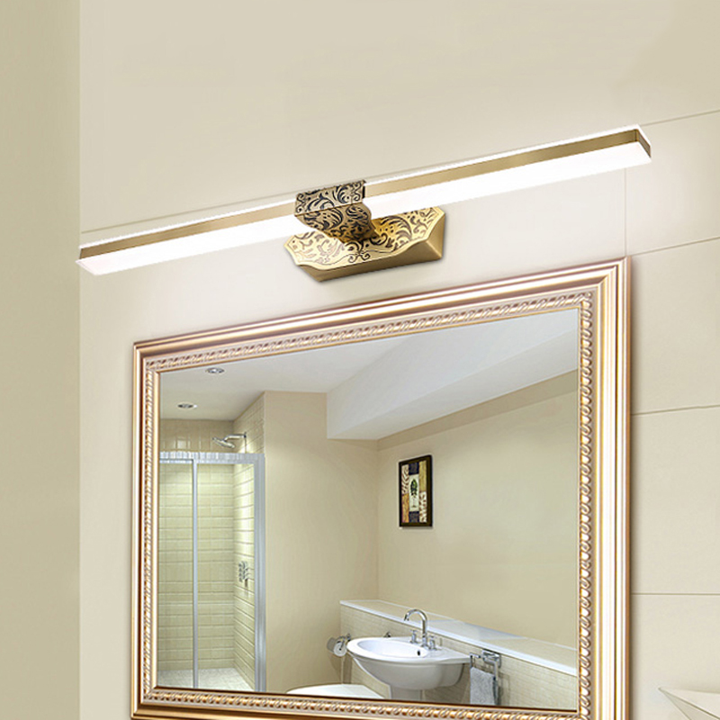 Europe Copper Shower Room Wall Mounted Mirror Light Luxury Vintage Cosmetic Lamp For Home Hotel 41cm In Led Indoor Lamps From Lights Lighting