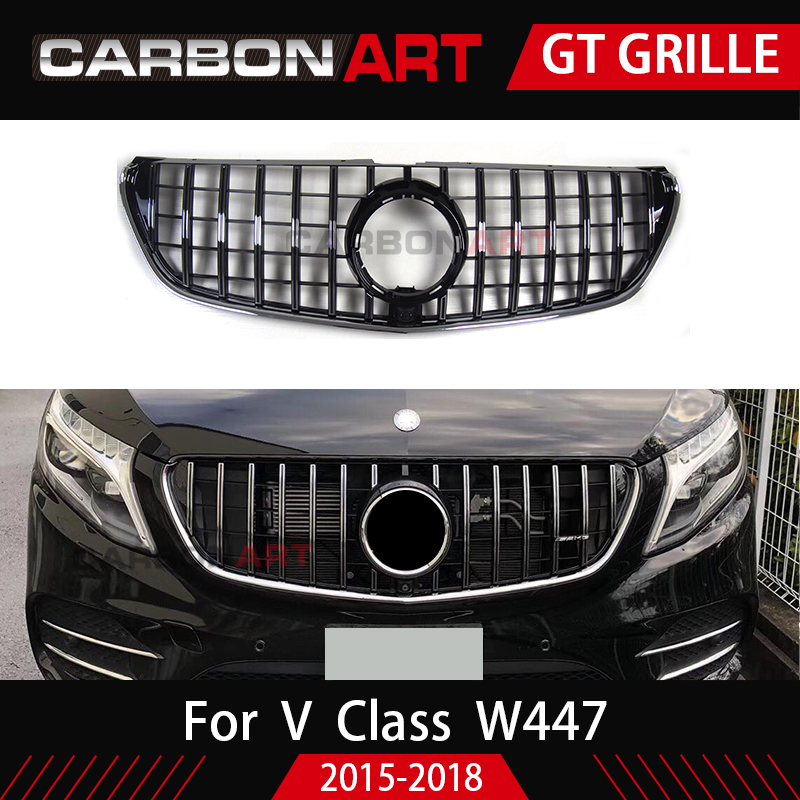 V Class GT Grill Grille Vertical Style For Mercedes W447 MPV Auto Front Mesh 2015 2018