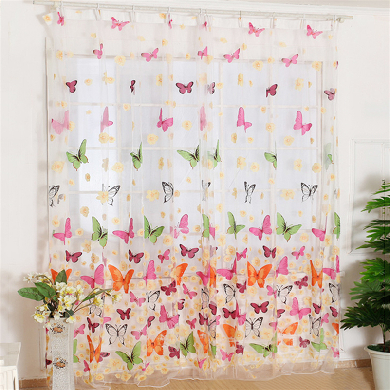 Fashion Hot Use Curtain Butterfly Print Sheer Curtain Panel Window Balcony Tulle Room Divider Colorful Curtain Home Textile F1