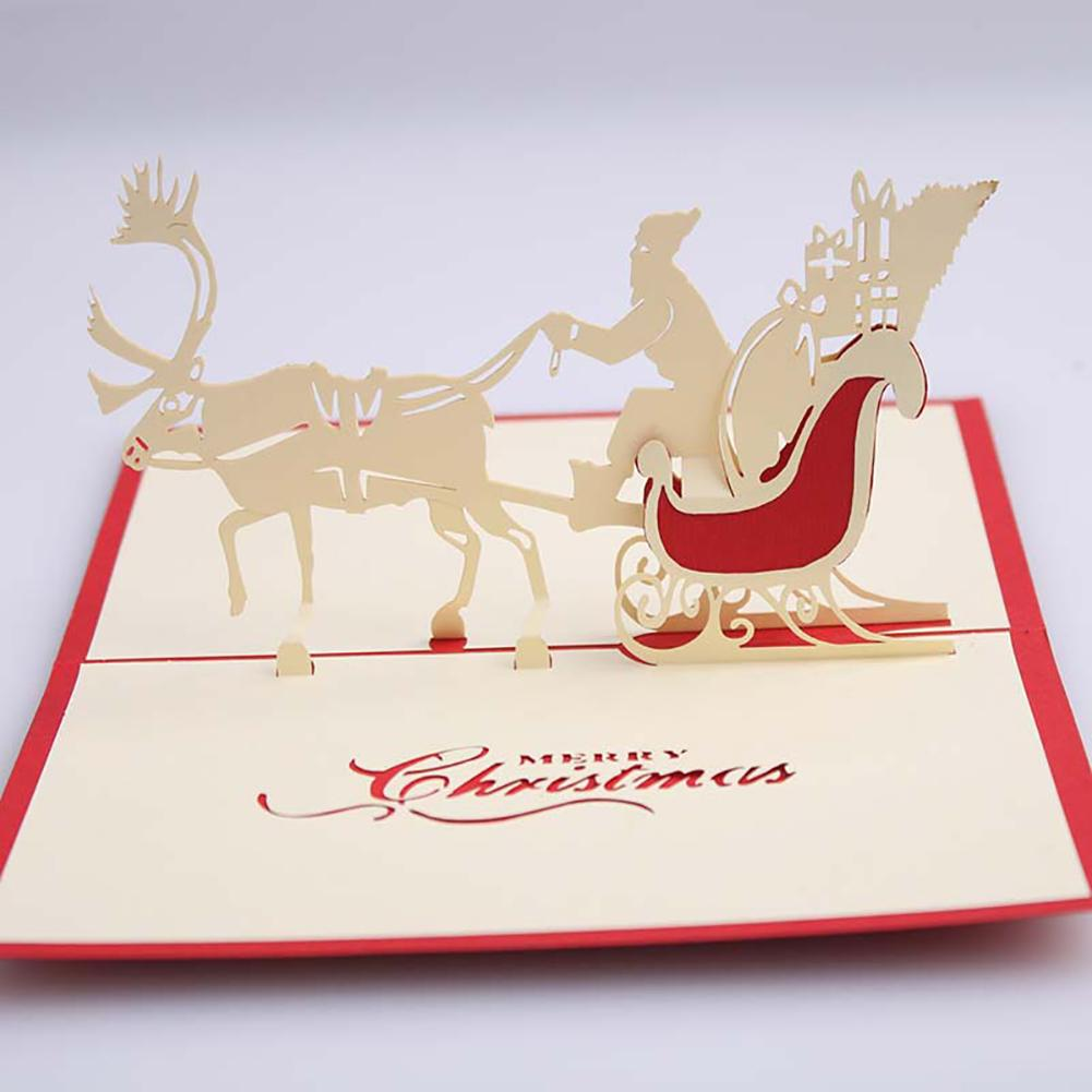 3d Pop Up Santas Sleigh Greeting Card Merry Christmas Wedding Postcard Gift Hot Bands Without Stones Wedding & Anniversary Bands