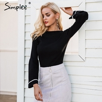 Simplee Lace Up Waistband Knitted Pullover Sweater Women Black Warm Long Sleeve Jumper Autumn Winter 2017