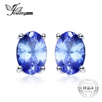 JewelryPalace 925 Sterling Silver 1ct Natural Tanzanite Stud Earrings Statement Fashion Earrings For Women Fine Jewelry