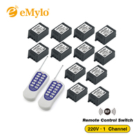 AC 220V 1000W One Transmitter 8X 1 Channel Relays Learning Smart Wireless Remote Control Switch Black