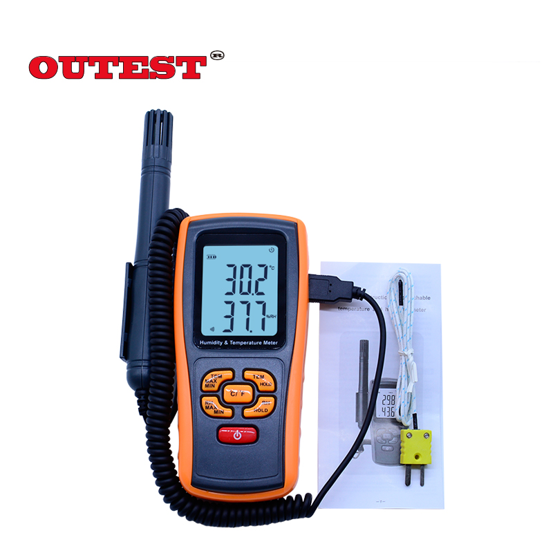 Digital LCD display thermo-hygrometer GM1361+ 2.0 Inch Separate temperature and humidity meter digital indoor air quality carbon dioxide meter temperature rh humidity twa stel display 99 points made in taiwan co2 monitor