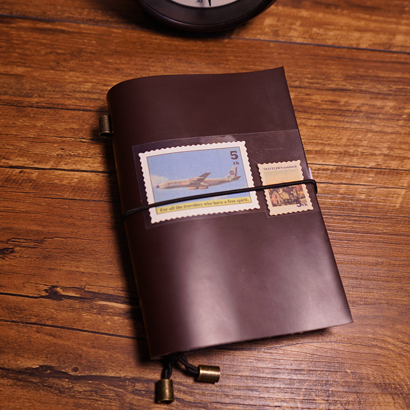 Inside Book Cover Paper : Travel journal handmade notebook genuine leather cover