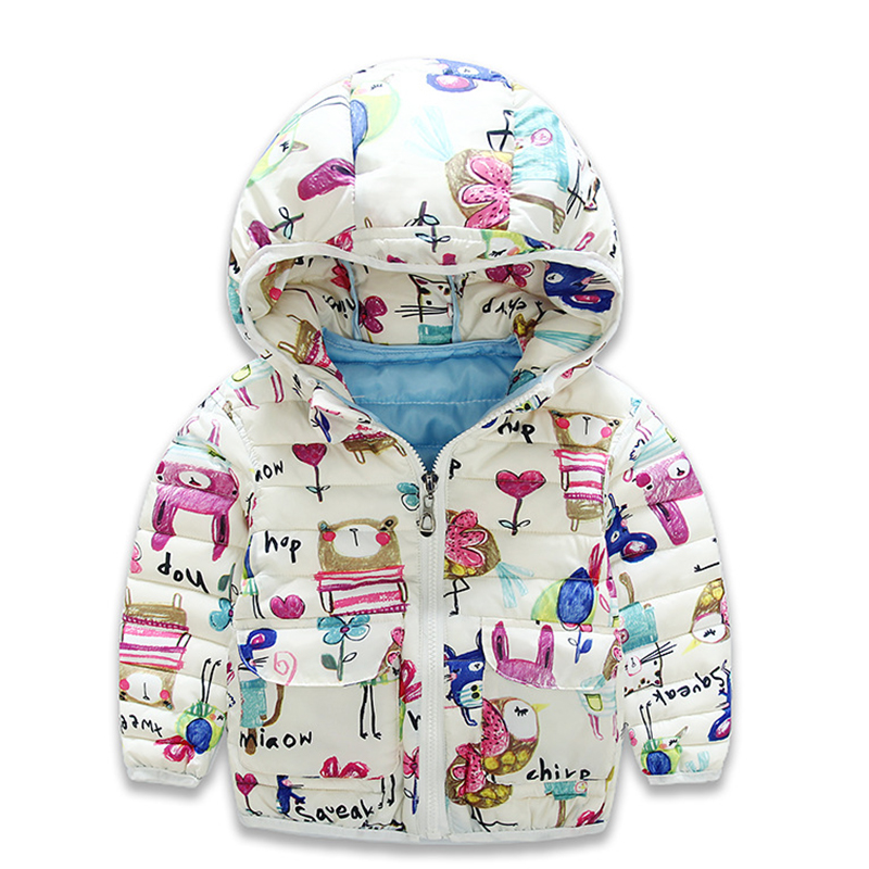 Baby Winter Coat for Girls Boys Children Winter Parka Cartoon Cotton Jackets Winter Printed Hooded Coats Fashion New Outwears new 2016 children winter coat fashion cartoon little fox baby girls boys zipper hooded parka outwear kids warm jackets for 2 7y