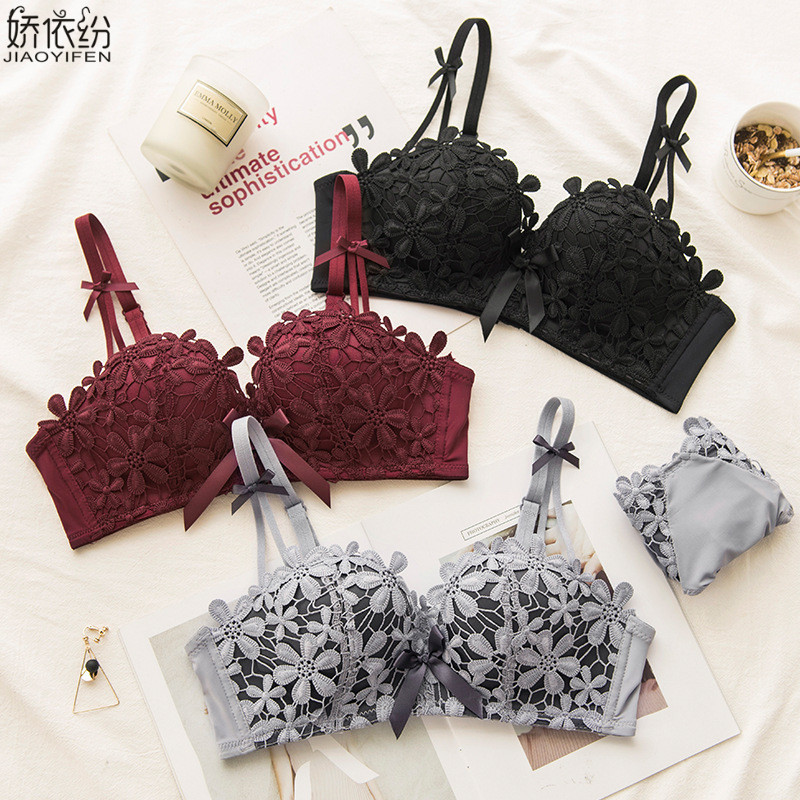 New Romantic Underwear Women Sexy Lace Embroidery Bra Set Japan Sakura Comfortable Thicken Lingerie Seamless Push Up Intimates