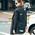 [Soonyour] 2017 новый осень-весна Длинные Lovely Печатных полосатый нагрудные Свободные Пальто женщин черный мода прилива все матча 2WTH2241S