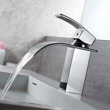 цена Bathroom Basin Sink Faucet Waterfall Basin Taps Chrome Polish Single Handle Single Hole Mixer Tap Deck Mounted в интернет-магазинах