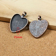 20pcs Mini Order Antique Copper Metal Pendant Blank Inner 25mm Heart Cameo Setting Cabochons Tray For DIY Jewelry 20pcs 12mm heart inner size stainless steel material simple style cabochon base cameo setting charms pendant tray t7 41