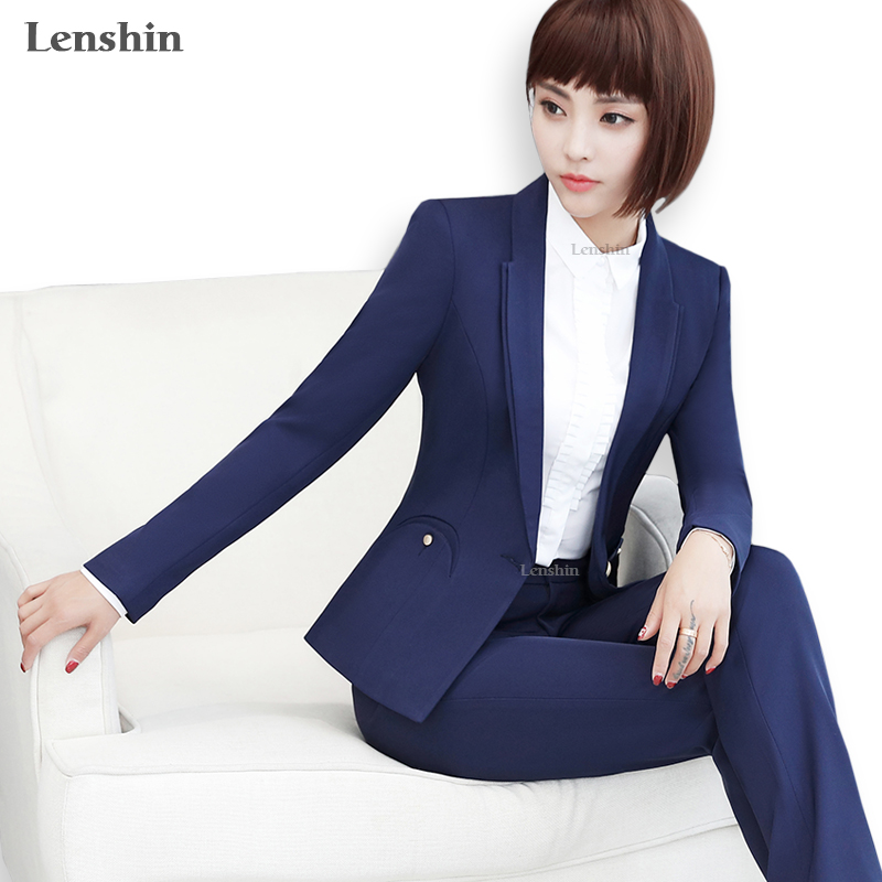 Back To Search Resultswomen's Clothing Pant Suits Formal Pant Suits For Women Business Suits Blue Blazer And Jacket Sets Ladies Work Wear Clothes Office Uniform Styles