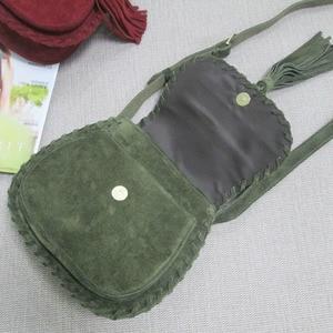 Image 3 - Natural Suede Leather Saddle Bag Women Genuine Leather Casual Messenger Bag Female Leisure Natural Leather Fringe Shoulder Bag