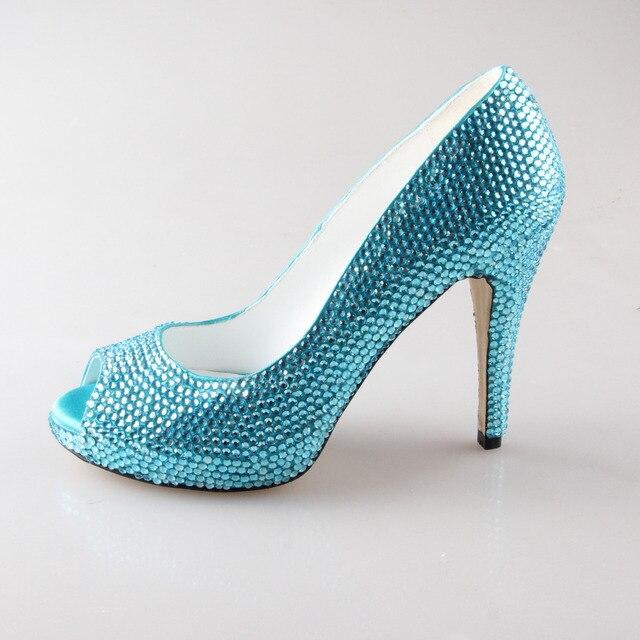 Creativesugar handmade acqua aqua blu turchese rhinestone pieno scarpe da  sposa prom cocktail aprire peep toe aad4896f884b