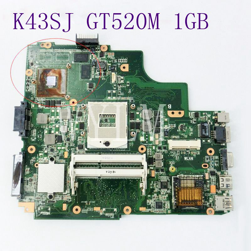 K43SJ GT520M 1GB N12P-GV-B-A1  Mainboard For Asus K43SV A43S X43S P43S Laptop Motherboard DDR3 Tested Working Well Free Shipping