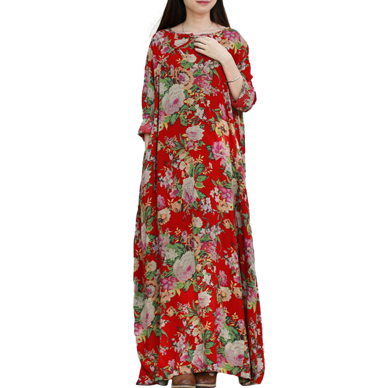 LZJN Spring Autumn Dress Women Long Sleeve Cotton Ethnic Floral Maxi Dresses Vestidos Blumenkleid Vintage Chinese