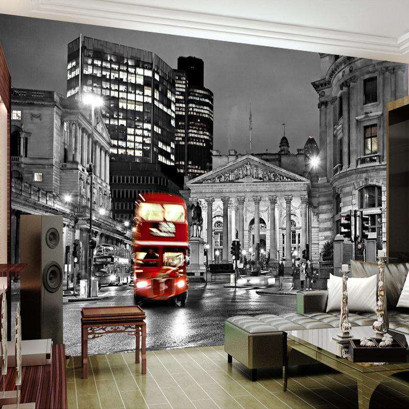 beibehang Custom 3D Photo Wallpaper European Black And White City Street View Living Room Mural Wallpaper Home Decoration beibehang custom european victoria photo