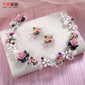 Women necklace+earrings floral Tiara handmade hairband pearl jewelry crown marriage forehead necklaces party accessories qilan