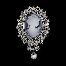 Unisex Party Vintage Cameo Style Beautiful Head Series Crystal  Wedding Women Pendant Brooch Pins