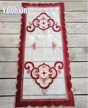 Новинка кружевная красная вышитая скатерть для кровати цветов