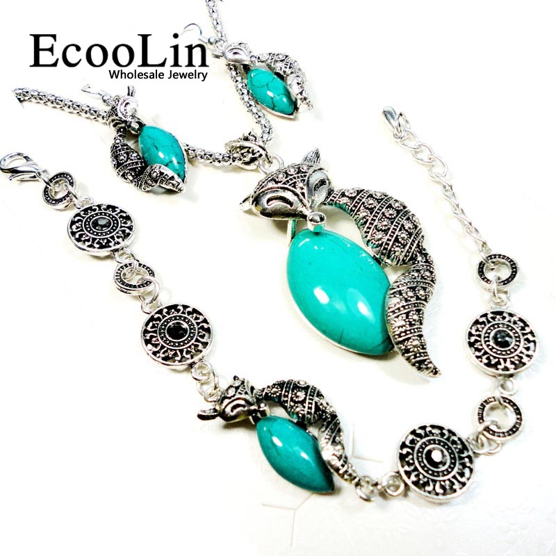 1 Set Fashion Jewelry lot Hot major Vintage Antique Silver Fox Necklace Pendant Earring For Women Jewelry Sets LR151