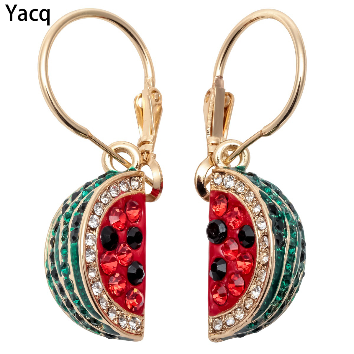 YACQ Watermelon Dangle Drop Earrings Women Red Fashion Jewelry Gifts Mom Crystal Charm Gold Silver Plated ED01 Dropshipping yoursfs leverback earrings 18k white rose gold plated fashion jewelry women square crystal dangle drop earrings