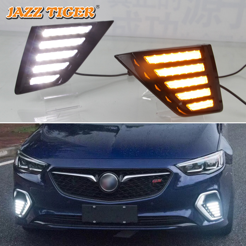 JAZZ TIGER 2PCS Flowing Turn Yellow Signal Function 12V Car DRL Lamp LED Daytime Running Light For Opel Insignia GSI 2017 2018 цена