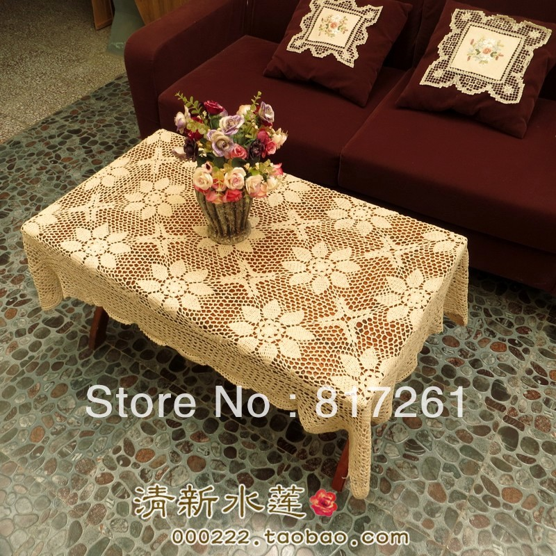 Free Shipping Cotton Crochet Lace Flowers Tablecloth Table Cover For Dinning Table Lace Piano Cover Coffee