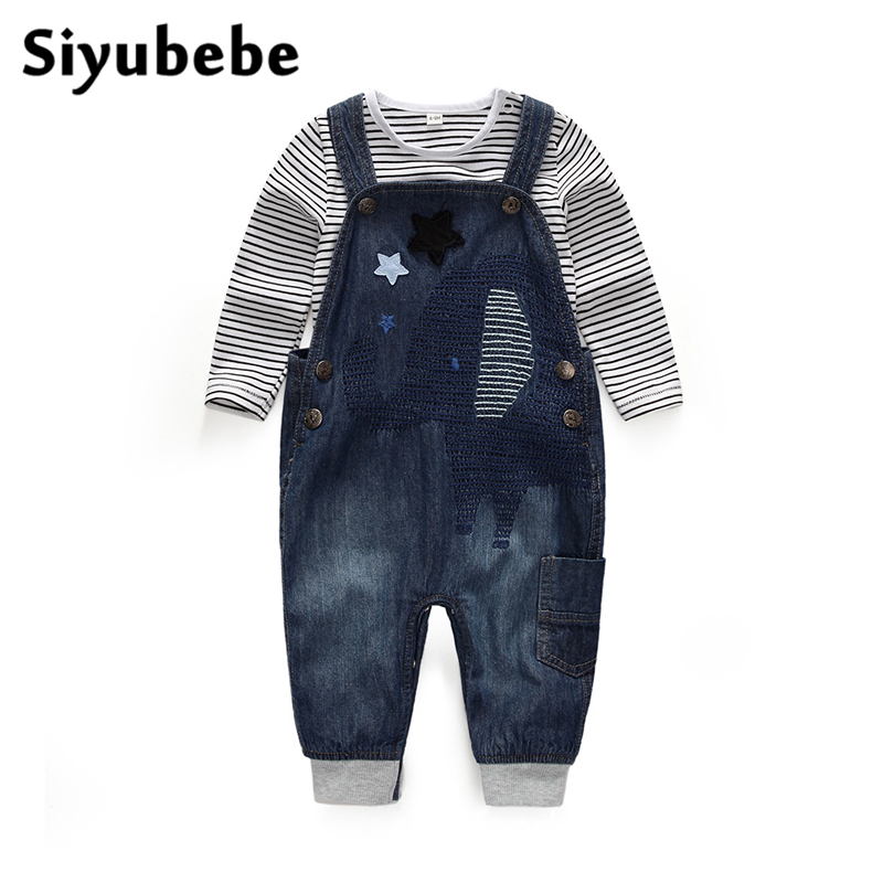 2017 Baby Boys Clothes Kids Long Sleeve Clothing Set Jeans Toddler Boy Striped Body Suit+Suspender Pants Girls Denim Cardigan
